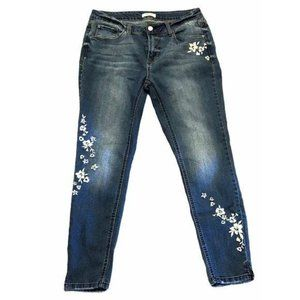 Kensie Cropped Embroidered Floral Jeans Size 8R